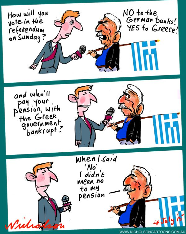 Greeks vote on Austerity pension Australian business cartoon 2015-07-04