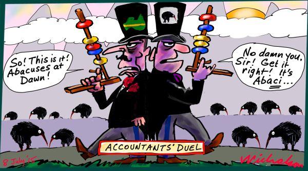 Accountants duel Aus NZ CPAA CAANZ Margin Call cartoon Australian business 2015-07-08