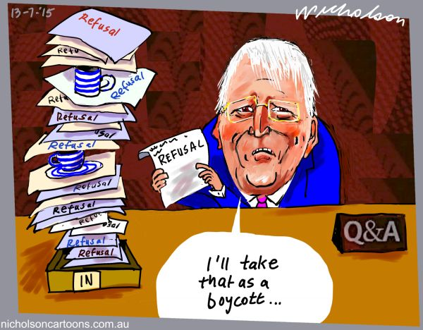 Tony Jones QandA boycott ABC Media cartoon Australian 2015-07-13