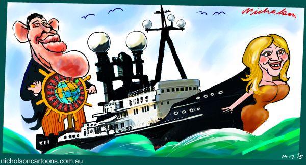Packer circumnavigates world  Mariah  Carey  Margin Call business cartoon Australian  2015-07-14