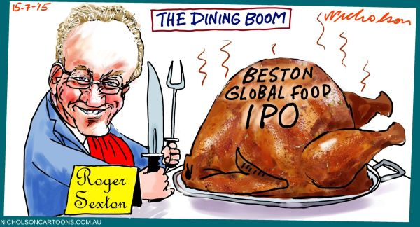 Roger Sexton Global Food IPO Margin Call cartoon Australian 2015-07-15