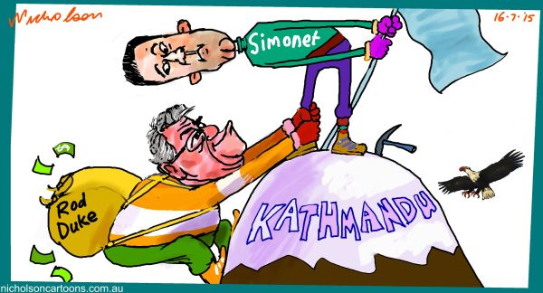 Kathmandu Duke Simonet Ron Duke  Margin Call cartoon Australian 2015-07-16