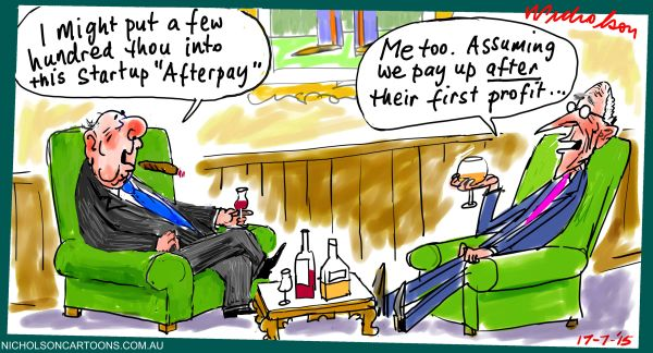 Afterpay raising  margin Call cartoon Australian 2015-07-17