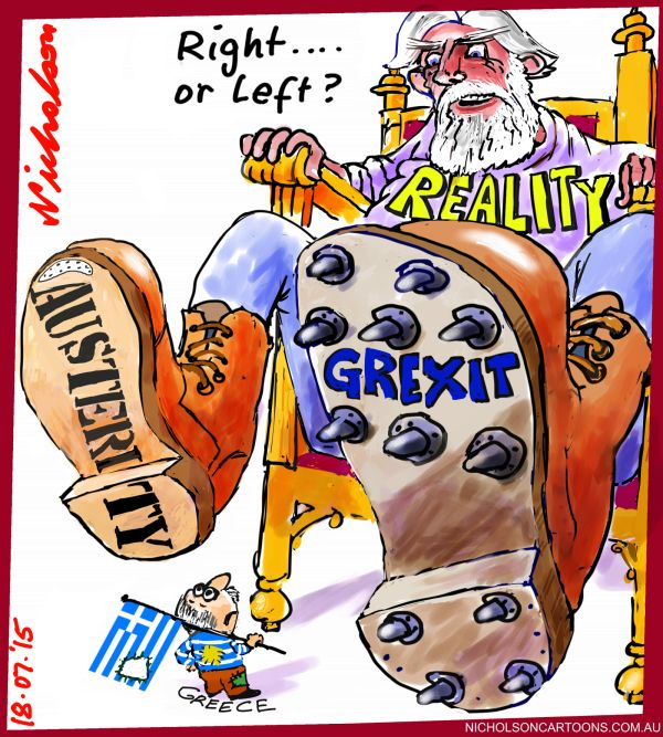 Greece Austerity vs Grexit Right vs Left Business cartoon Australian 2015-07-18