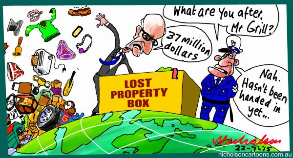 John Grill lost property box Margin Call Australian cartoon 2015-07-22