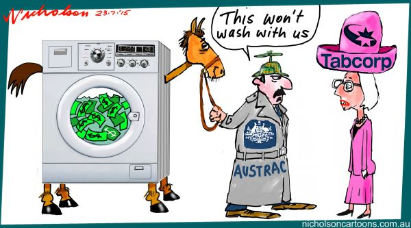 AUSTRACK Tabcorp Paula Dwyer money laundering query Margin Call cartoon Australian 2015-07-22