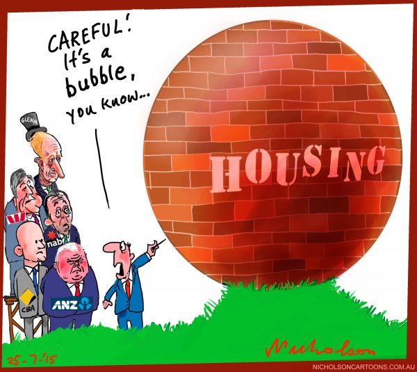 Banks raise rates is there a housing bubble Australian business cartoon 2015-07-25