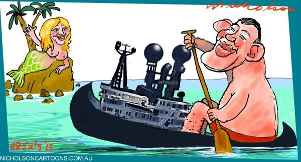 James Packer Mariah Carey canoe Margin Call cartoon 2015-07-28