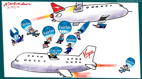 Fairfax people told fly Virgin Margin Call cartoons Australian 2015-07-31