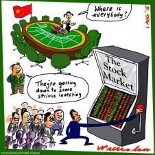 China stock market a gamble business cartoon 2015-08-01