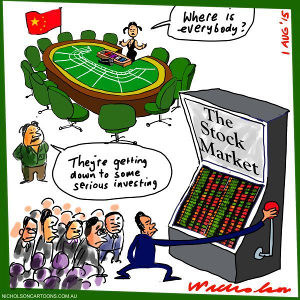 China stock market a gamble business cartoon 2015-08-01