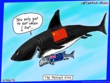 Australian economy interlocked with China  Australian business cartoon 2015-08-15