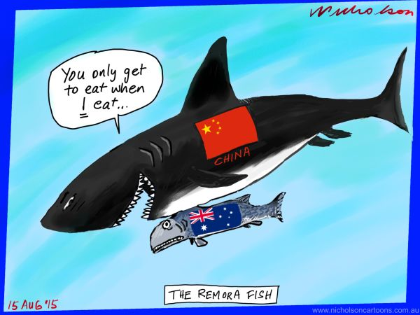 Australian economy interlocked with China  Australian business cartoon 2015-08-15