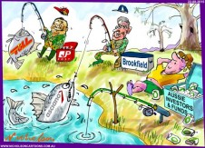 Aussie funds investors fail to catch fish Toll Japan Post Asciano Brookfield  Australian business cartoon 2015-08-21