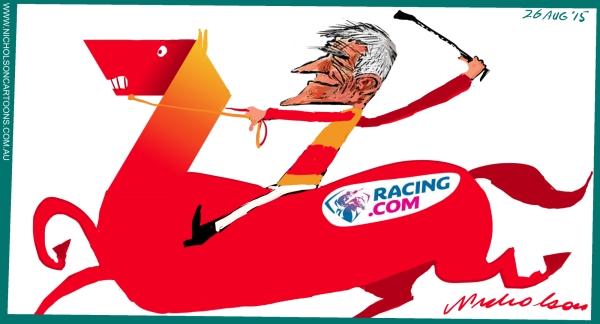 Stokes success with racing,com rights red 7 horse margin Call cartoon Australian 2015-08-26