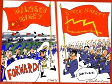 China marches forward but stock market marches in other direction cartoon Australian business 2015-09-05