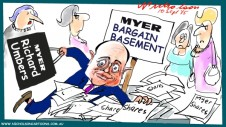 Richard Umbers shares in Myer bargain basement Margin Call Australian business cartoon 2015-09-10