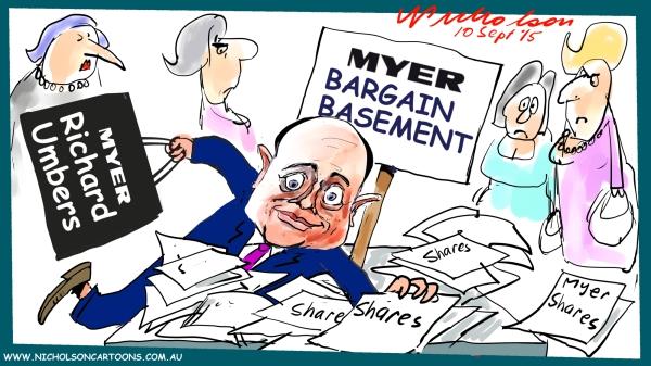 Richard Umbers shares in Myer bargain basement Margin Call Australian business cartoon 2015-09-10