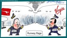 Alan Joyce Borghetti rivalry runway rage cartoon Margin Call Australian 2015-09-11