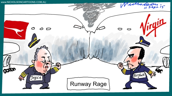 Alan Joyce Borghetti rivalry runway rage cartoon Margin Call Australian 2015-09-11
