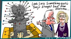 Tony Abbott gifts distributed Turnbull Lucy cartoon Margin Australian 2015-09-22