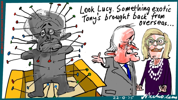 Abbott gifts distributed Turnbull Lucy  Margin cartoon Australian business 2015-09-22