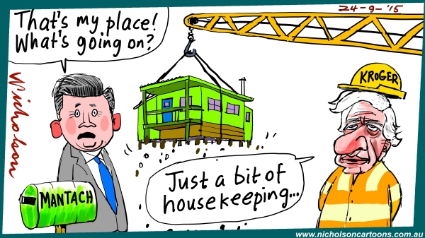Damien Mantach loses house Kroger cartoon Australian Margin 2015-09-24