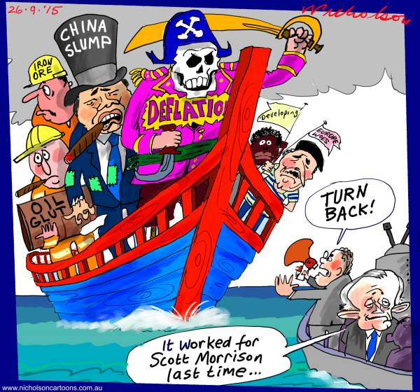 Scott Morrison turn back the world's woes cartoon Australian business 2015-09-26