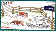 UBS Crestone clients guided towards transfer sheep  Grounds Chisholm Margin Call business cartoon 2015-09-30