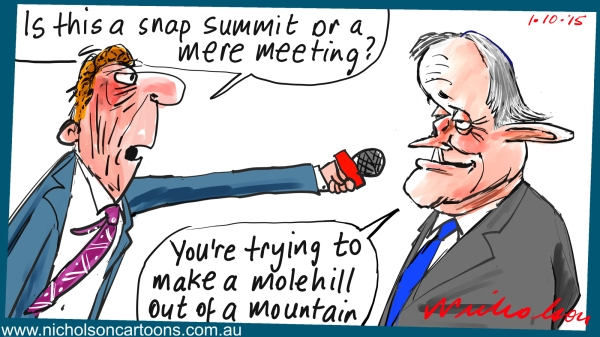 Turnbull reform summit mountain molehill Margin Call Australian business cartoon 2015-10-01