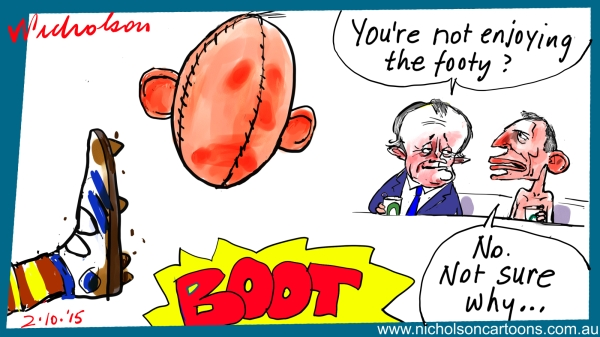 Abbott Turnbull at the footy Margin Call business cartoon australian 2015-10-02