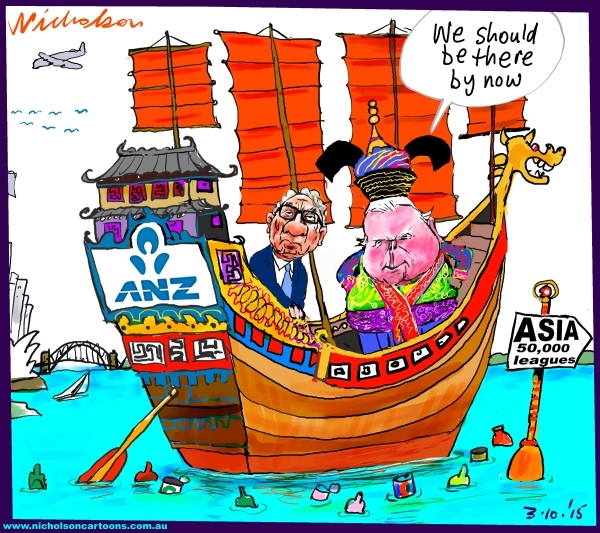 ANZ move into Asia taking longer than expected Australian business cartoon 2015-10-03