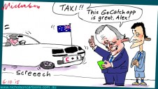 Turnbull GoCatch taxi startup son Alex Margin Call Australian cartoon business 2015-10-06