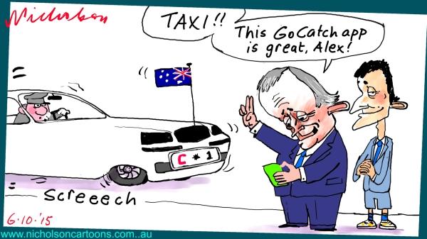 Turnbull GoCatch taxi startup son Alex Margin Call Australian cartoon business 2015-10-06