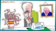 Shayne Elliott New CEO ANZ finds AMBANK can of worrms business cartoon Margin Call Australian 2015-10-07