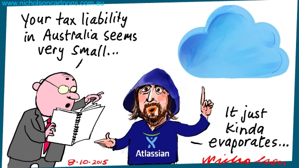 Cannon-Brookes Atlassian tax liability calculations Margin Call Australian business cartoon 2015-10-08