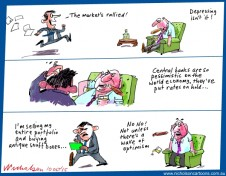 Stock market recovery why?  Interest rates optimism business cartoon Australian 2015-10-10