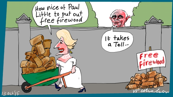 Paul Little Toll Toorak free firewood put on nature strip Margin Call cartoon 2015-10-13
