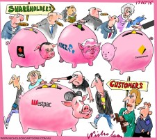 Westpac rates up gets customers to boost banks reserves not share holders Australian business cartoon 2015-10-17