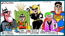 Superheroes Packer Rankin Crown board Margin Call Australian cartoon 2015-10-22