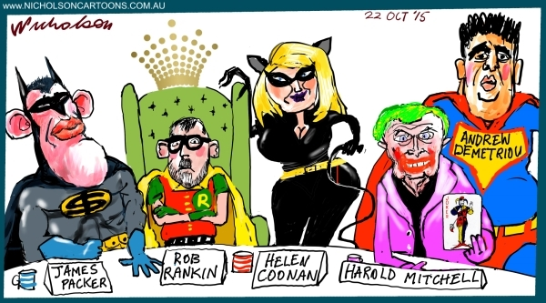 Superheroes Packer Rankin Crown board Margin Call Australian cartoon 2015-10-22