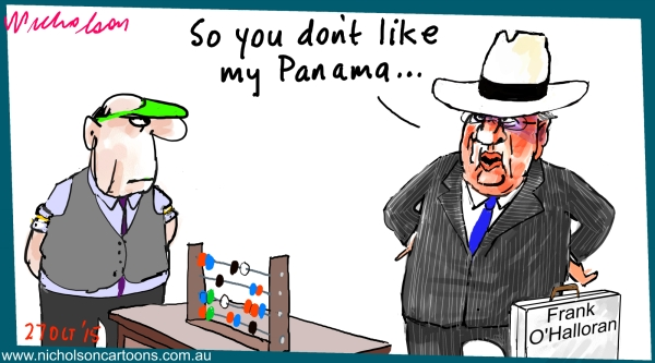 Frank O'Halloran interest in Panamanian company Margin Call business cartoon 2015-10-27