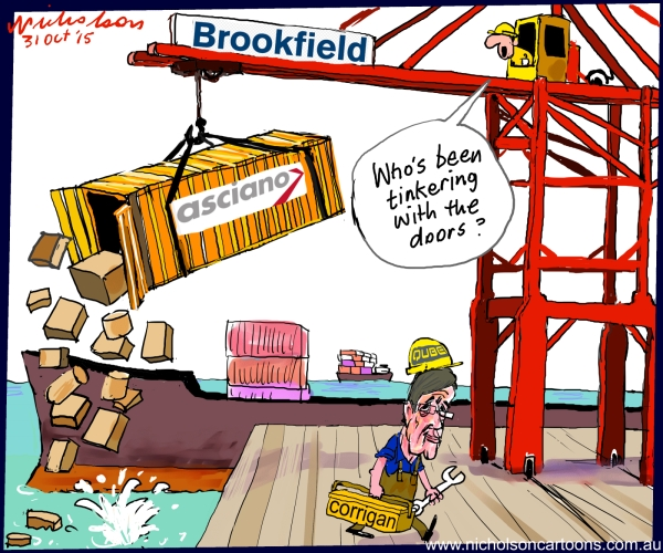 Corrigan Qube Brookfield Asciano container door open Australian business cartoon 2015-10-31