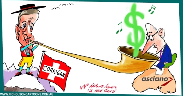 Corrigan in Switzerland Asciano Qube alphorn  cartoon Margin Australian 2015-11-12