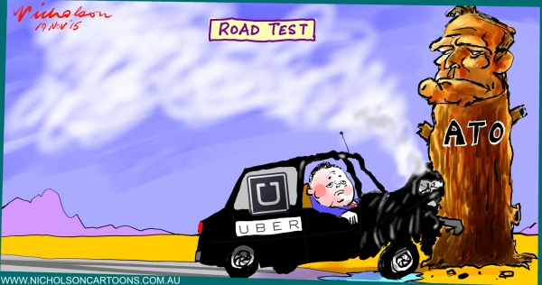 UBER stacks car straight in ATO on topic GST  2015-11-19