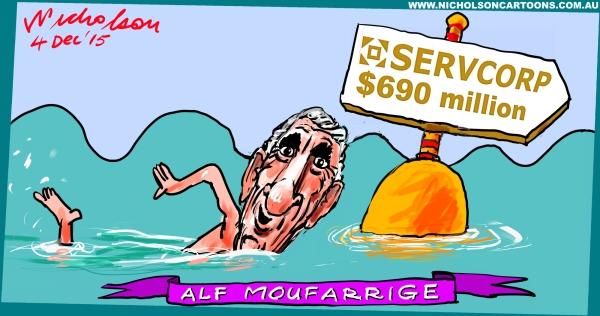 Alf Moufarrige swims on Margin Call Australian cartoon 2015-12-04