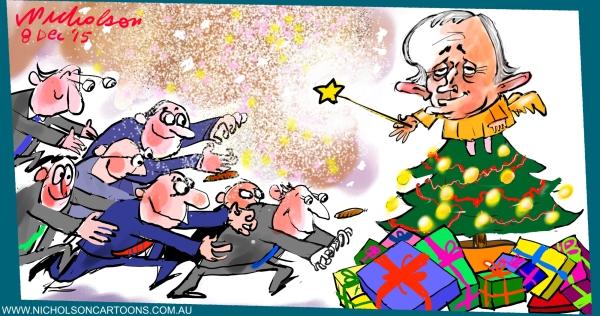 Malcolm Turnbull Christmas party at Kirribilli for merchant bankers 2015-12-08 Australian cartoon