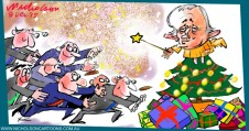 Turnbull Christmas party at Kirribilli Australian cartoon business Margin 2015-12-08