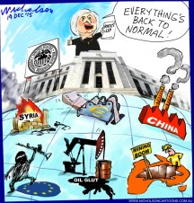 """Yellen rate rise signals back to """"normal"""" Business Australian cartoon 2015-12-19"""