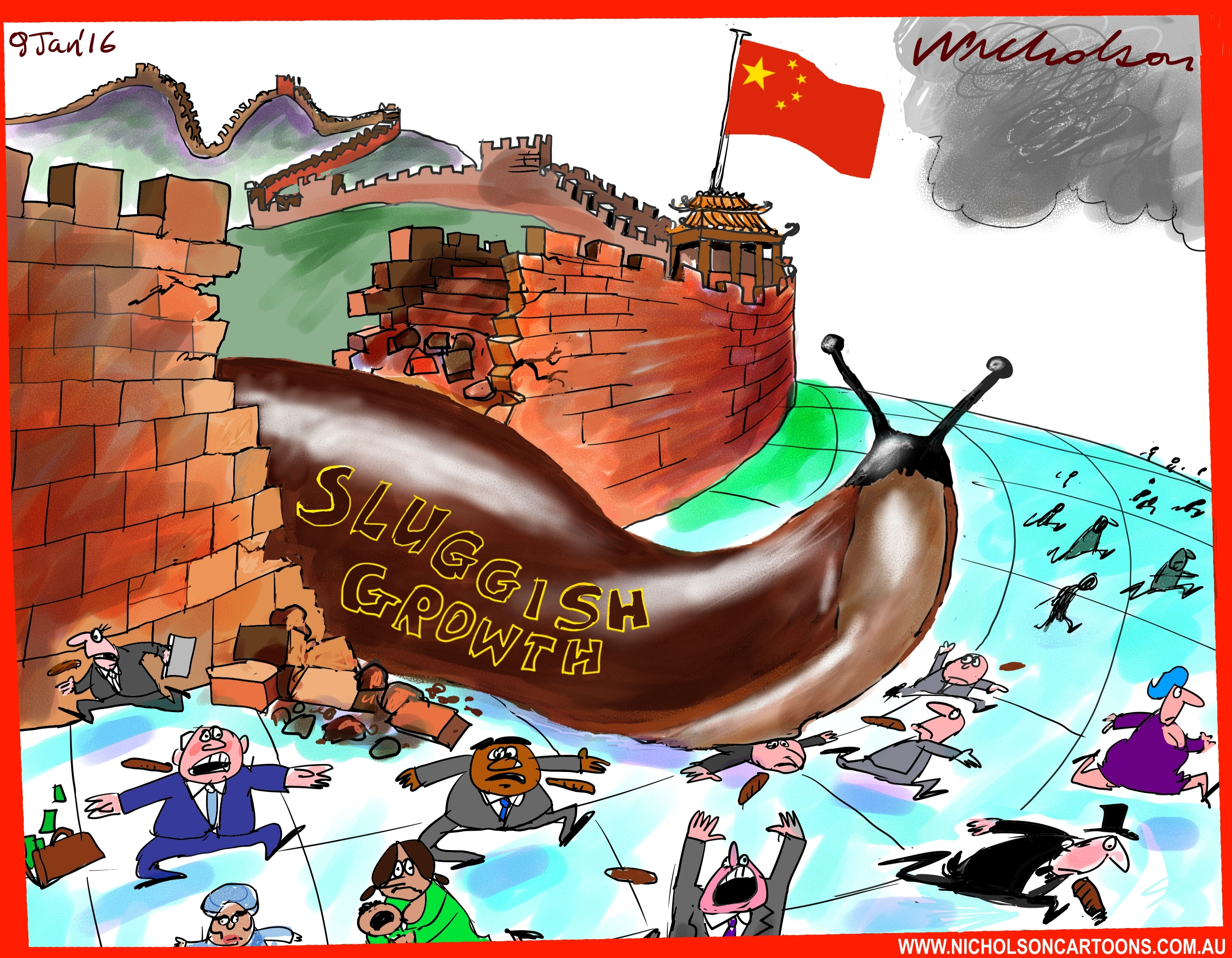 China sluggish growth hits world cartoon Austrlian business 2016-01-09